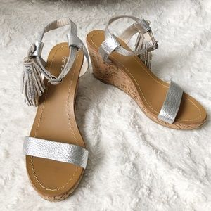 Boden Tassel Cork and Leather Wedge Sandals